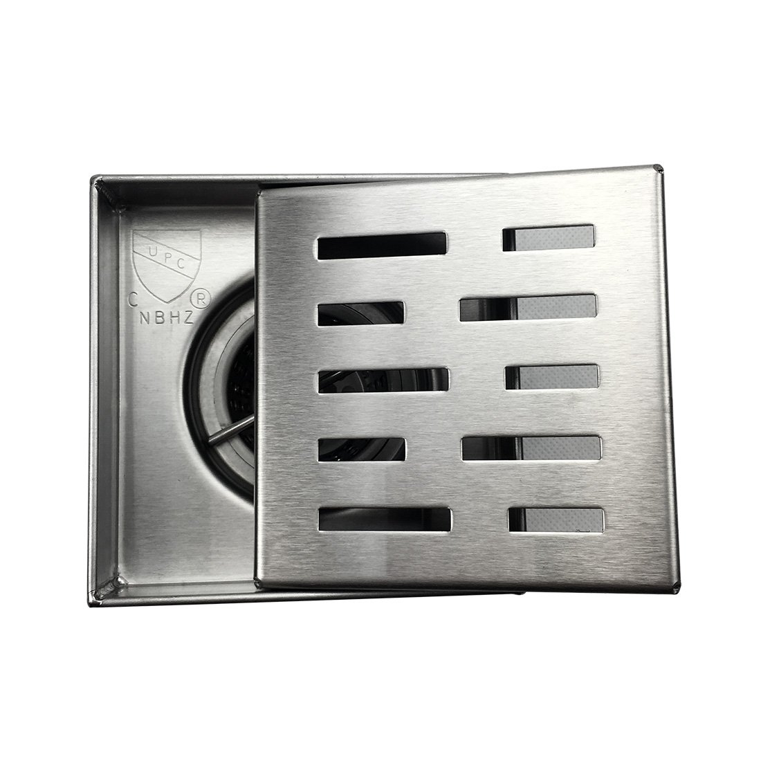Neodrain Square Shower Drain with Removable Brick Pattern Grate, 4-Inch, Brushed 304 Stainless Steel, With WATERMARK&CUPC Certified, Includes Hair Strainer by Neodrain (Image #2)