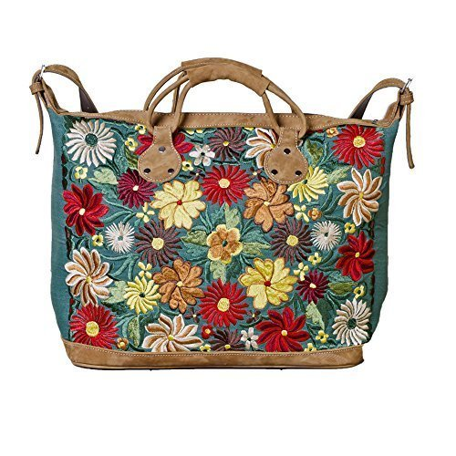 Altiplano Green Embroidered Leather Suitcase Fair Trade Handmade in Guatemala by Altiplano