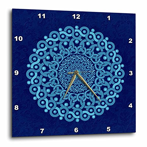 Cobalt Plate Blue Clock (3dRose dpp_32175_3 Turquoise and Cobalt Blue Fantasy Mandala on Royal Blue Muted Grunge Damask-Wall Clock, 15 by 15-Inch)