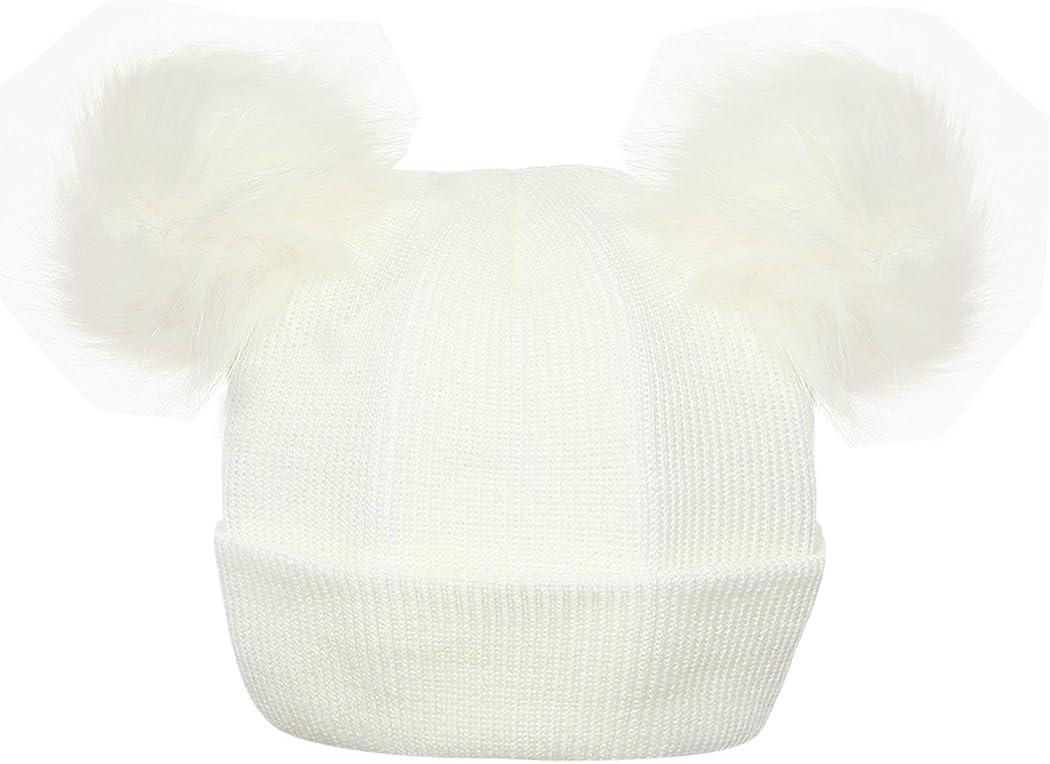 FUNOC Beanie Hat Faux Fur Pom Poms Warm Winter Hat Knit Hat for Cute Baby Kids Girls
