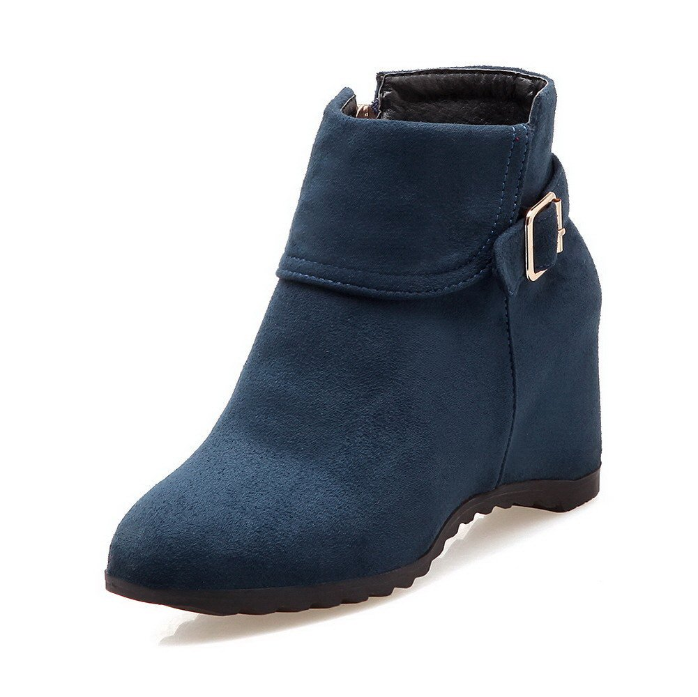 WeenFashion Women's Zipper High-Heels Imitated Suede Solid Ankle-high Boots, Blue, 35