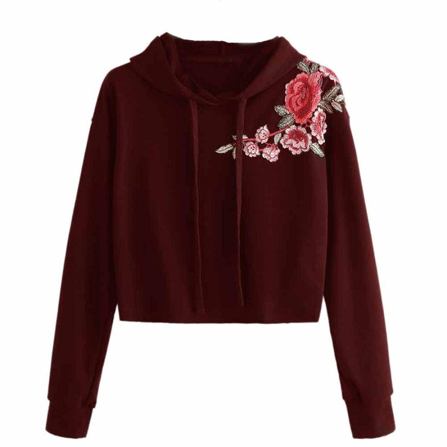 Women Hoodie Jumper Sweatshirt Mingfa Casual Rose Embroidered Sweater Crop Top Pullover Tops Blouse