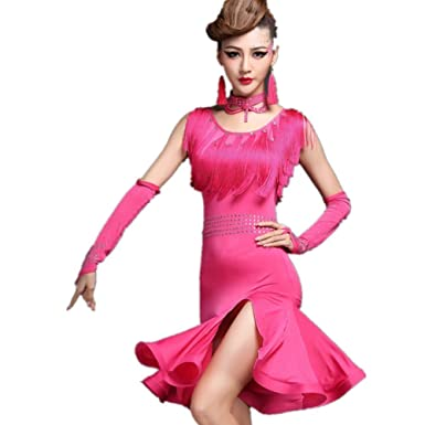 a03be755be81 Amazon.com: YC WELL Women Tassel Latin Dance Dress Performance Clothing  Modern Waltz Tango Dance Costume Party Stage: Clothing