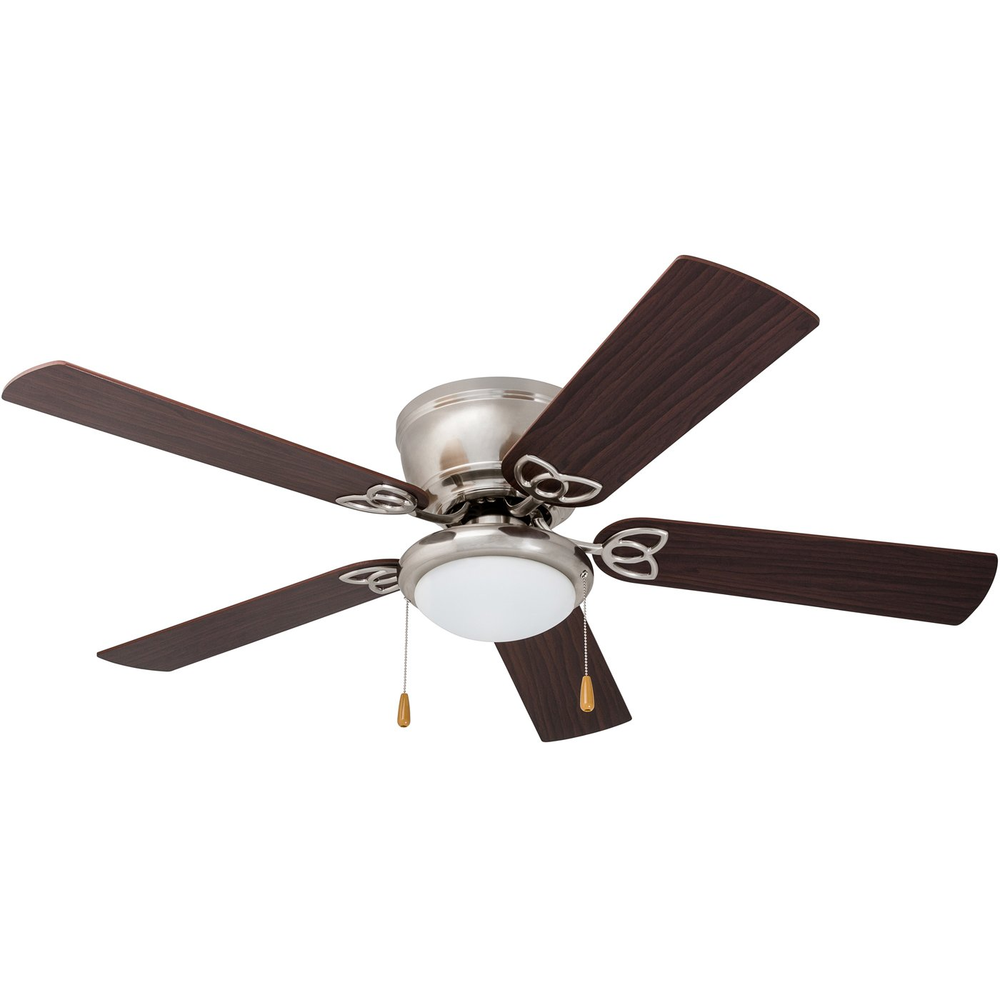Prominence Home 51428 Benton Hugger Low Profile Ceiling Fan, 52 Walnut Maple Blades, LED Globe Light, Brushed Nickel