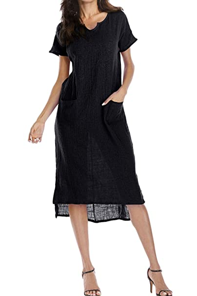 Women Solid Short Sleeve Dress Plus Size Slit Lace Up