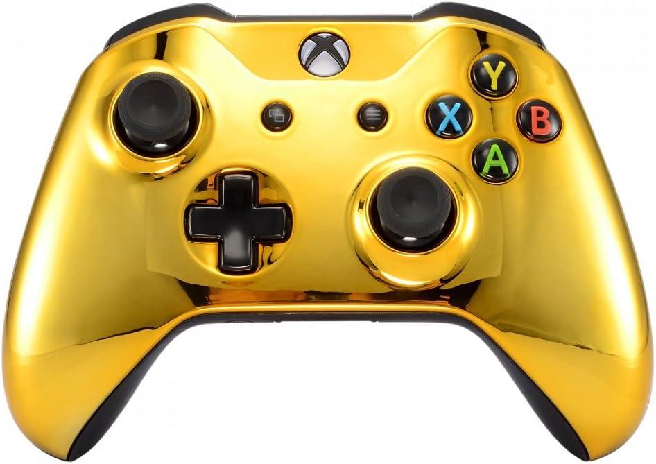 eXtremeRate Carcasa para Xbox One S X Funda Delantera Protectora de la Placa Frontal Cubierta de reemplazo para Mando del Xbox One S y Xbox One X (Model 1708) Oro Cromado: Amazon.es: