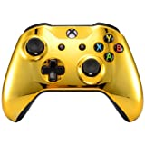 eXtremeRate Chrome Gold Front Housing Shell Faceplate for Microsoft Xbox One S & Xbox One X Controller - Controller NOT Inclu