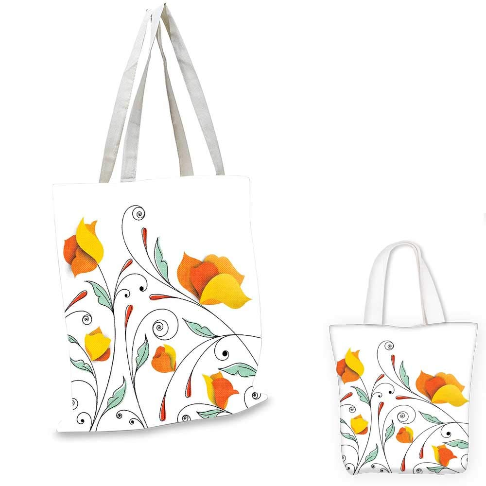 Floral canvas messenger bag Blossoming Flowers Pattern in Vibrant Colors Ornamental Design Print foldable shopping bag Yellow Purple Magenta 14x16-11