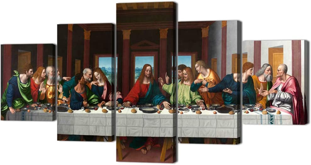 The Last Supper Painting Prints on Canvas Last Supper Wall Art Decor for Living Room Modern 5 Panels Jesus Pictures Posters Giclee Gallery Wrap Artwork Stretched Framed Ready To Hang (60''Wx32''H)