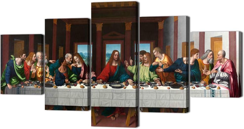 5P Jesus Disciples Last Supper Canvas Photo Print Painting Wall Art Home Decor