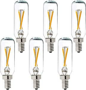 LiteHistory Dimmable T6 led bulb 25W Candelabra led 2700K Clear 200lm 2W e12 T25 led bulb 6Pack