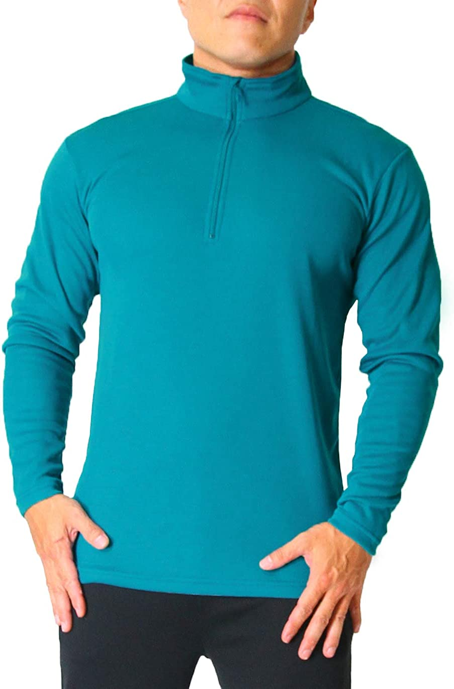 M - 3XL Odor Control /& Quick-Dry Active Sports Shirt for Hiking Litume Mens Long Sleeve Shirt with Zip Running Sports