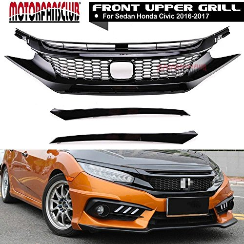MOTORFANSCLUB Gloss Black Front Grille Bumper Hood Mesh Grill for Honda Civic 10TH 2016-2017 Front Bumper Gloss