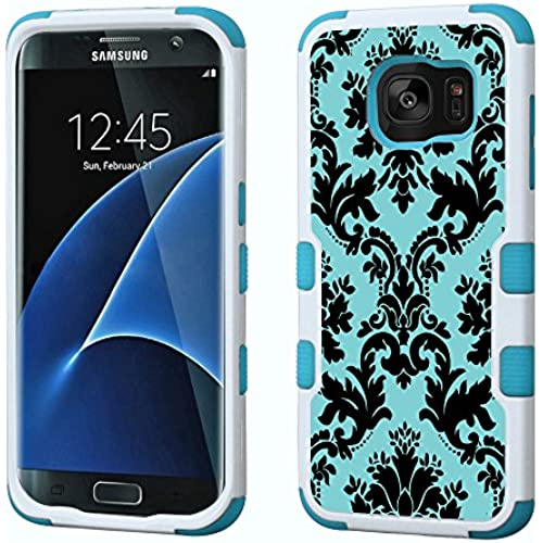 Fit Galaxy S7 EDGE, One Tough Shield  3-Layer Hybrid phone Case (White/Teal) for Samsung Galaxy S7 EDGE - (Victorian Blue/Black) Sales