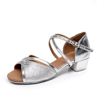 Latin Dance Schuhe für Mädchen/Weiche Unterseite Schuhe/ Ballroom Dance Schuhe für Kinder-I Fußlänge=20.3CM(8Inch) ZObEsGWQI