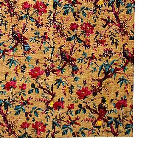 FashionShopmart Bird Print Twin Size Kantha Quilt Bed Cover Twin Kantha Bedspread Bohemian Bedding Kantha Size 90 Inch x 60 Inch Bohemian Decor SBKB0001 Kantha Blanket