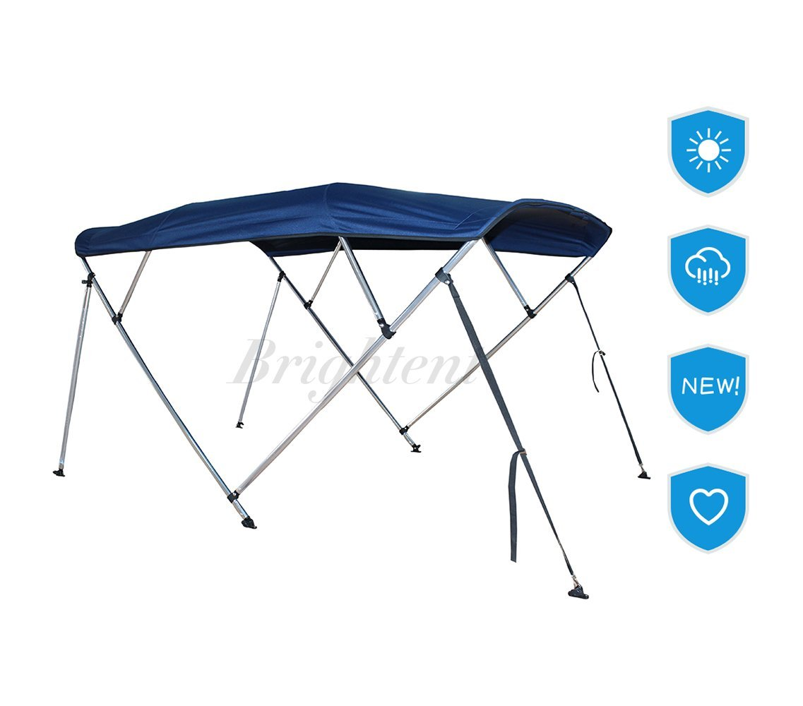 Brightent Navy Blue Bimini Top 6 Different Size 3-4 Bow Boat Canopy Cover with Free Support Poles and Towel Clips (4 Bow L8'/W79''-84''/H54'' XB4N1) by Brightent-Bimini Tops