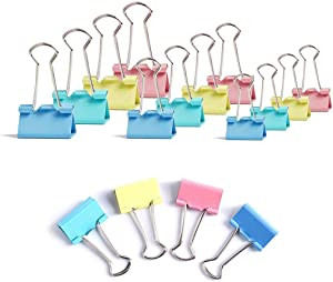 MiniTeasure 300 Pcs Colored Paper Clips, 3 Assorted Sizes Binder Clips Paper Clamps Metal Fold Back Clips, Multicolor 1 Inch, 0.75 Inch, 0.6 Inch, for Office, School and Home Supplies