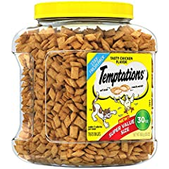 Every day is a perfect day for delicious cat treats! TEMPTATIONS Classic Treats for Cats Tasty Chicken Flavor feature a unique pocket shape that is delightfully crunchy on the outside and scrumptiously soft and creamy on the inside that your cat will...