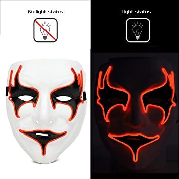 Ansee Halloween Rave Mask Vampire Mask Light Up EL Wire LED Mask for Masquerade Festival Party DJ Cosplay Costume