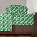 Roostery Green 4pc Sheet Set Green Hawaiian Flowers Pattern by Jamesdean King Sheet Set made with