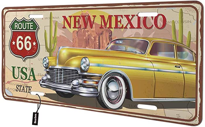 Beabes New Mexico Front License Plate Cover, USA State Botanic Plants Wildlife Nature Decorative License Plates for Front of Car Vanity Plate for Men Women Alumium 6x12 Inch