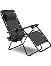 Goplus Folding Zero Gravity Reclining Lounge Chairs Outdoor Beach Patio W/Utility Tray (Black)