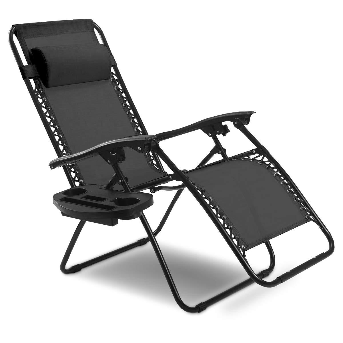 Goplus Folding Zero Gravity Reclining Lounge Chairs Outdoor Beach Patio W/Utility Tray (Black) by Goplus