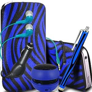 ONX3 Alcatel One Touch T'Pop Protective PU Leather Slip Zebra cable de tracción en la bolsa del lanzamiento rápido con Mini capacitivo Stylus Pen, 3.5mm en auriculares del oído, mini altavoz recargable Cápsula, 12v Micro USB cargador de coche (Azul y Negro)