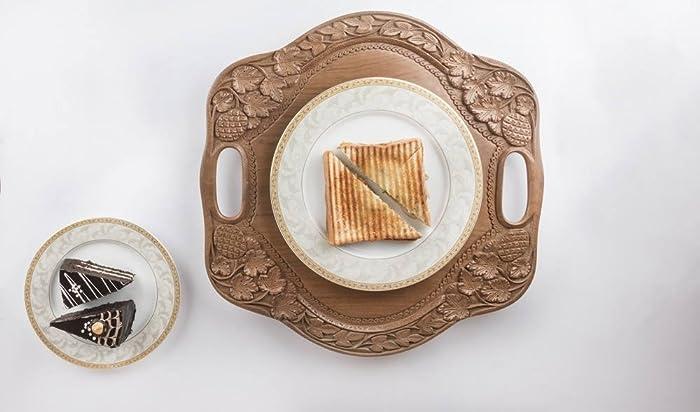Bandeja de servir de madera hecha a mano con asas | Bandeja de servir antigua | Bandeja decorativa | Bandeja de mesa rústica | Decoración de bandeja de ...