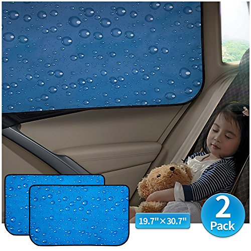 (Car Sun Shade Car Window Shade Double Thickness Rear Side Window Auto Windshield Sunshades Universal Fit for rv truck UV protection 2 Pack by aokway)