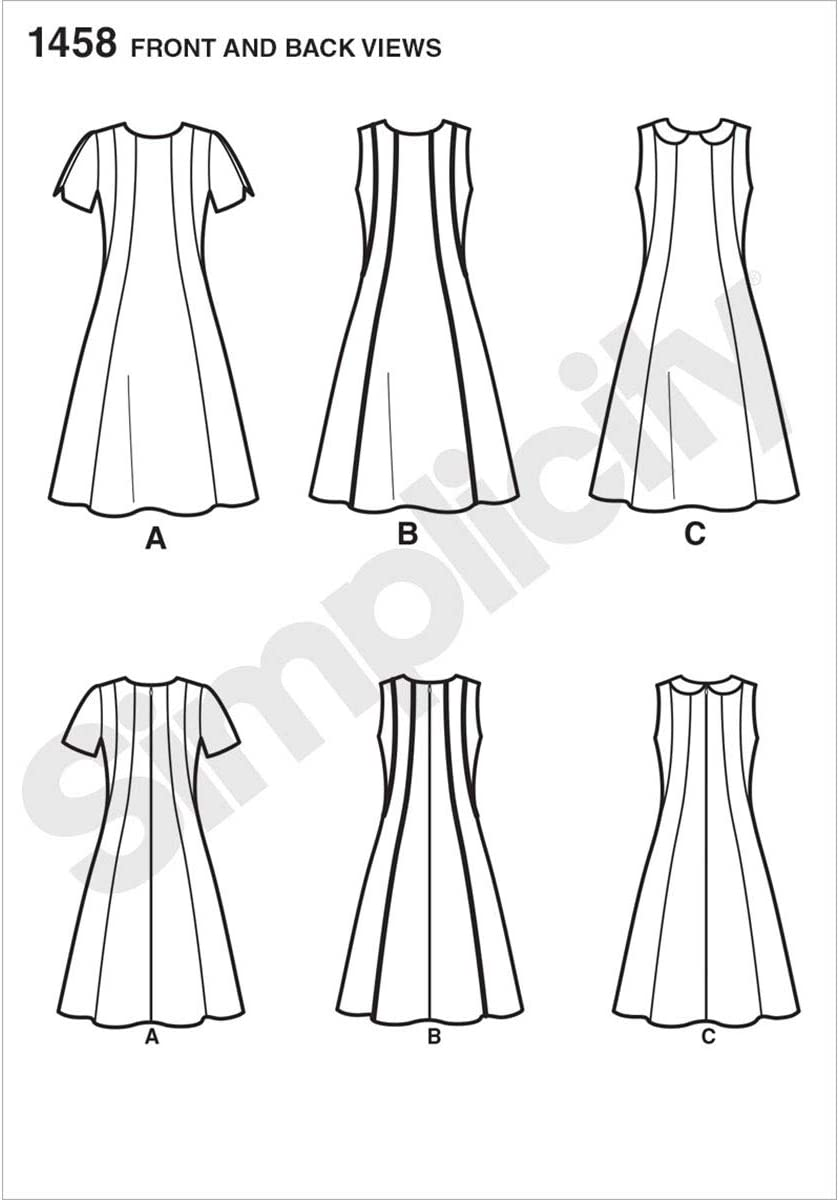 Simplicity Amazing Fit Pattern 1458 Misses Dress with Individual Pieces Sizes 10-12-14-16-18