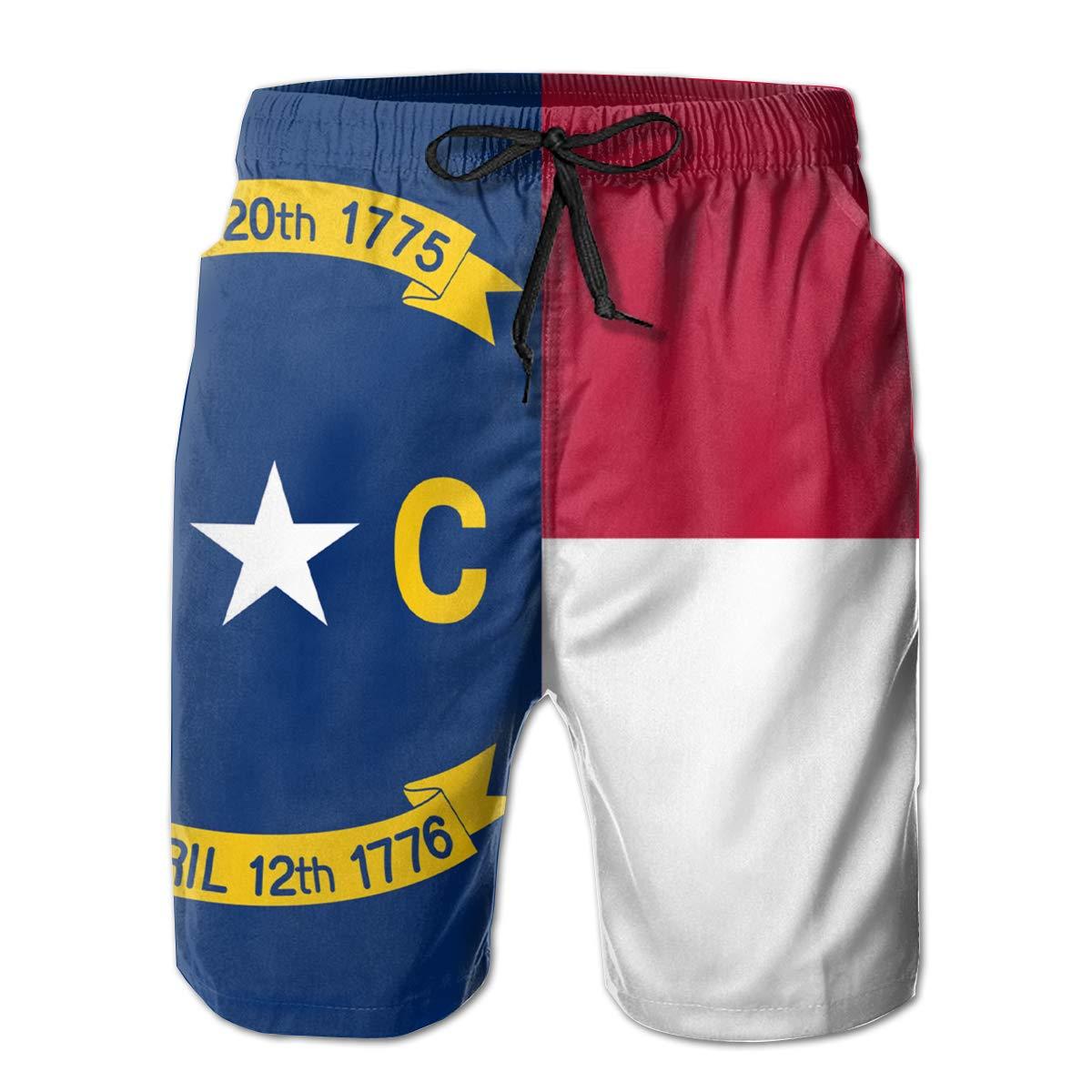 Flag of North Carolina-NC Mens Summer Casual Swimming Shorts Quick Dry Beach Shorts with Pockets