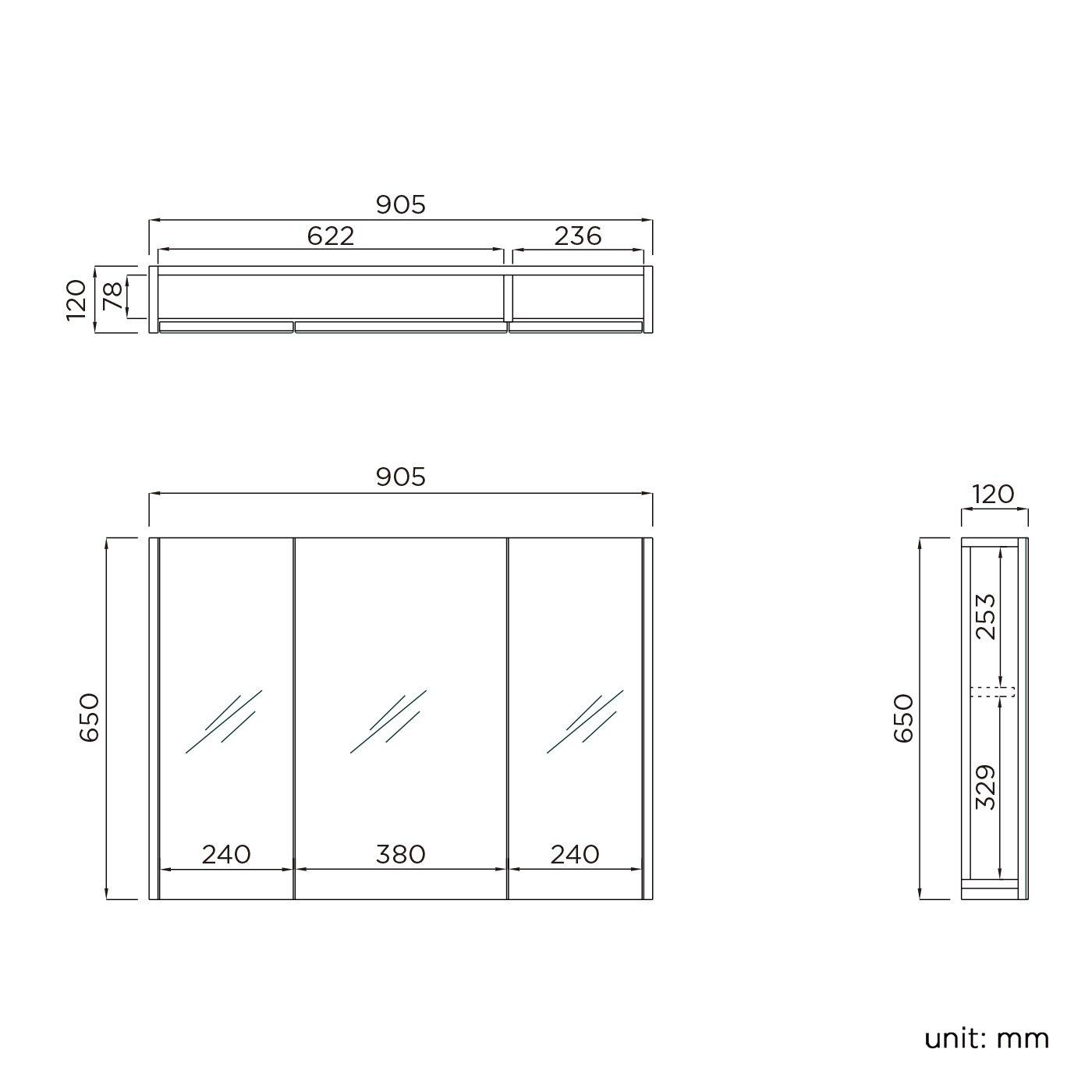 iBathUK da appendere 90/cm Mobiletto da bagno a specchio con 3 ante finitura in noce
