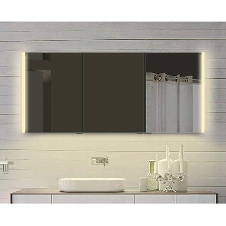 Lux Aqua Alu Badezimmer Spiegelschrank Mit Beleuchtung In Warm