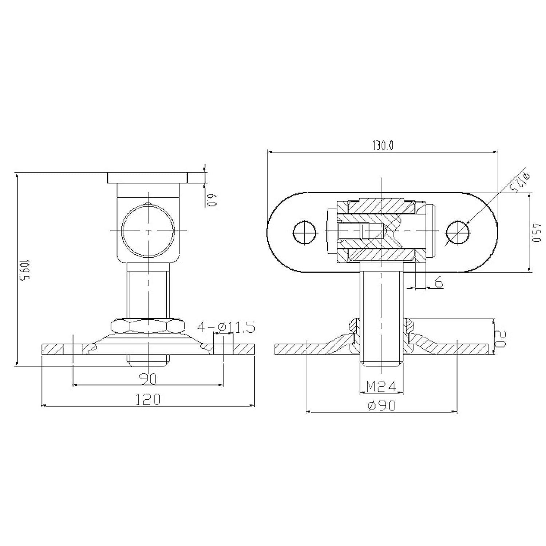 2 St/ück Torangeln M24 mit 2 Befestigungsplatten einstellbar Torband Torscharnier