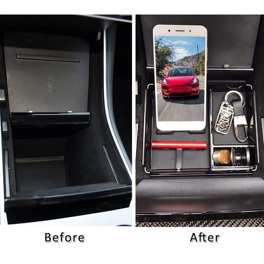 TeslaOwner Auto Center Console Organizer Inserto bracciolo Storage Box Holder Contenitore Guanto Pallet Vassoio di 3/Modelli compatibili per Monete Chiave del Telefono Occhiali da Sole