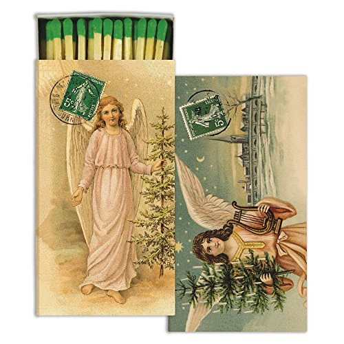 HomArt Decorative Christmas Angels Match Boxes with Long Matches Great for Lighting Candles, Grills, Fireplaces and More | Set of 3 Match Boxes