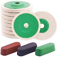 Rustark 13 Pcs Polishing Wheel with Compounds Kit Contains 10pcs 4'' 100mm Wool Felt Polishing Buffing Wheel Pad Bore…