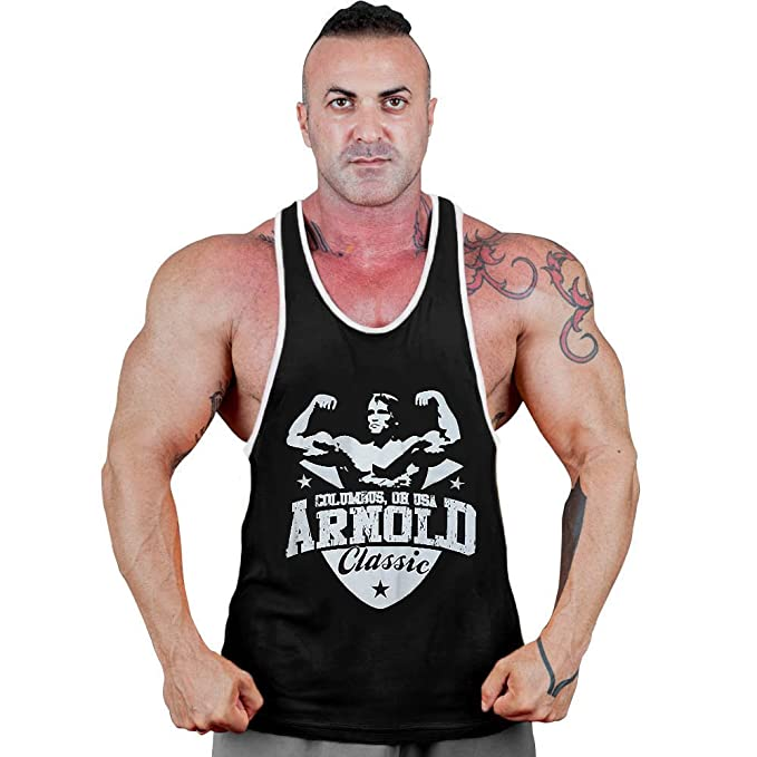 8068dfc53dd87 CRAZYBODIES Arnold Men s Stringer Bodybuilding Fitness Muscle Workout Gym  Tank Top Singlet (X-Large