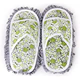 NUOLUX Pair of Dusting Mop Slippers Shoes Floor Cleaner Cleaning Shoes (Green)