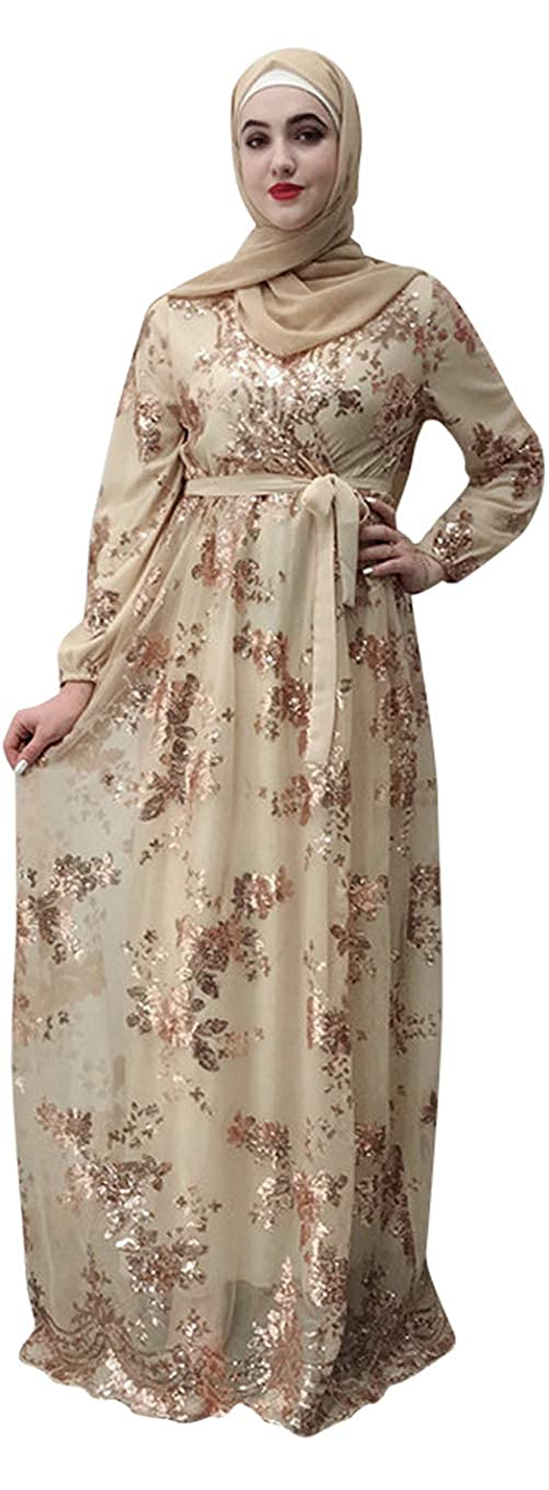Champagne YI Heng MEI Muslim Women's Glitter Embroidered Lace Full Length Hijab Abaya Party Gown