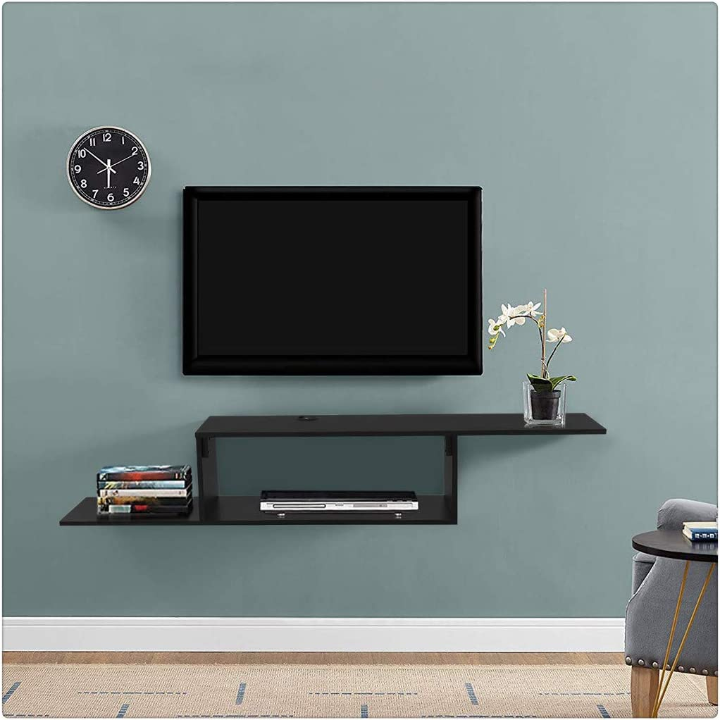 MINIKID Wall Mounted Media Console TV Cabinet 60Inch MDF Floating TV Stand Component Shelf Entertainment TV Storage Shelf Console Table for Entryway Living Room【US Fast Shipment】 Hallway Black