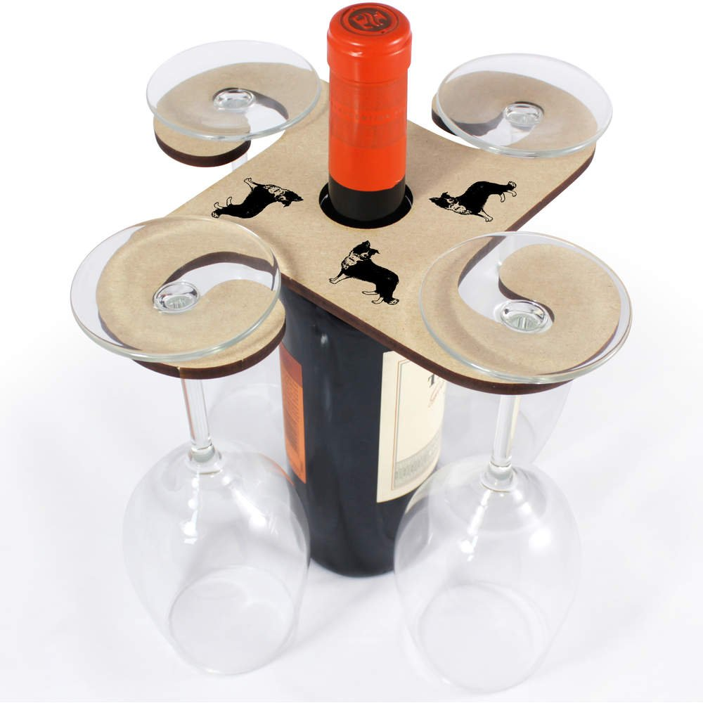Azeeda 'Border Collie Sheepdog' Wooden Wine Glass / Bottle Holder (GH00028522)