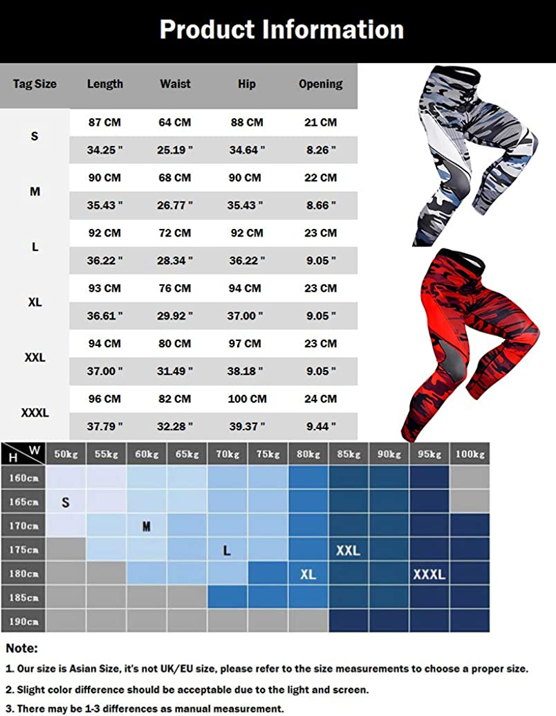 zhbotaolang Mens Camouflage Sport Compression Pants Cool Dry Gym Tights Running Base Layer Premium Training Legging Thermal Trousers