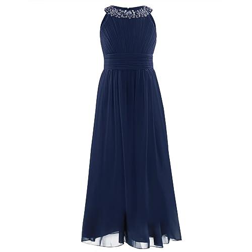 YiZYiF Beaded Neck Chiffon Flower Girl Dress Princess Summer Wedding Dance Ball Prom Evening Gowns