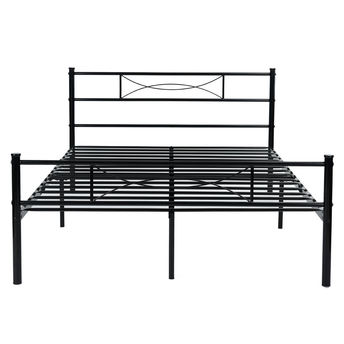 Amazon Metal Bed Frame Full Size Yanni 10 Legs Mattress Foundation Two Headboards Black Platform Box Spring Replacement Home