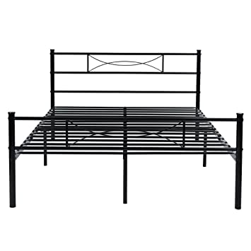 metal bed frame full size yanni 10 legs mattress foundation two headboards black platform bed - Full Size Metal Bed Frames