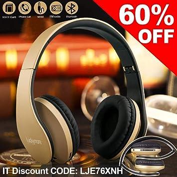 Auriculares de Diadema Bluetooth Cascos Sonido Estéreo-Auriculares002(Gold)