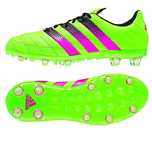 super popular bb0a8 21354 adidas ACE 15.1 FG/AG Leather Junior Soccer Cleats (Solar Green) Sz. 4
